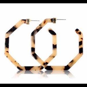 Jewelry - Faux tortoiseshell hoops.